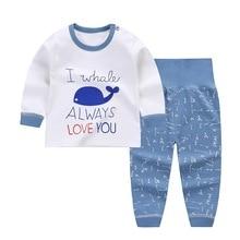 Пижамные комплекты для маленьких мальчиков и девочек с мультяшным принтом хлопковая детская одежда для сна осенне-весенние топы с длинными рукавами и высокой талией+ штаны От 0 до 2 лет