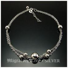 925 pure silver accessories giving birthday gift silver beads Women anklets