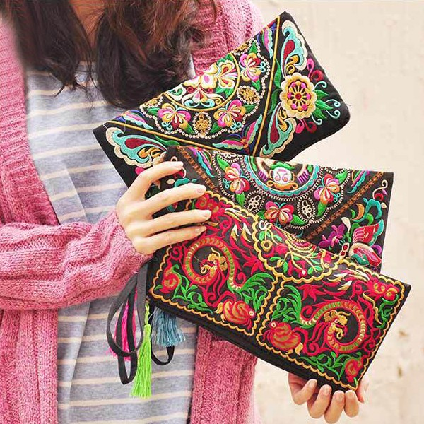 Ethnic National Retro Wallet Women Butterfly Flower Bags Hand Coin Embroidered Lady Clutch Tassel Small Flap