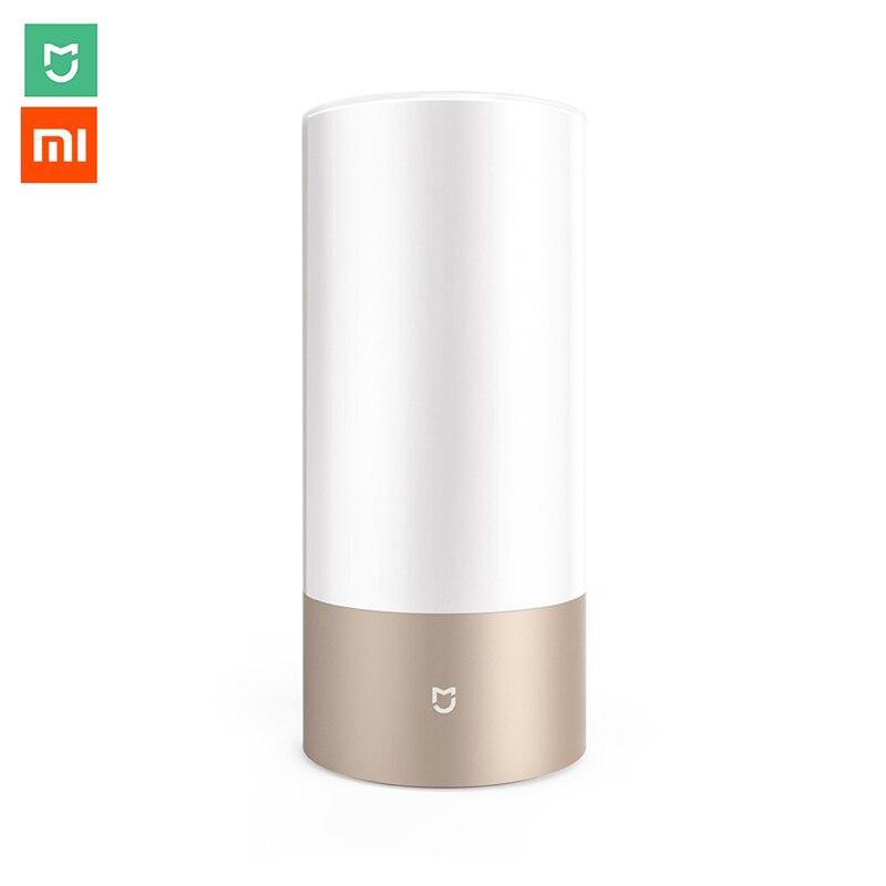 Xiaomi Mijia LED الذكية مصباح السرير اسطوانة اللمس عكس الضوء مصباح Bluetooth WiFi APP غرفة نوم رومانسية ليلة الخفيفة لمبات ملونة