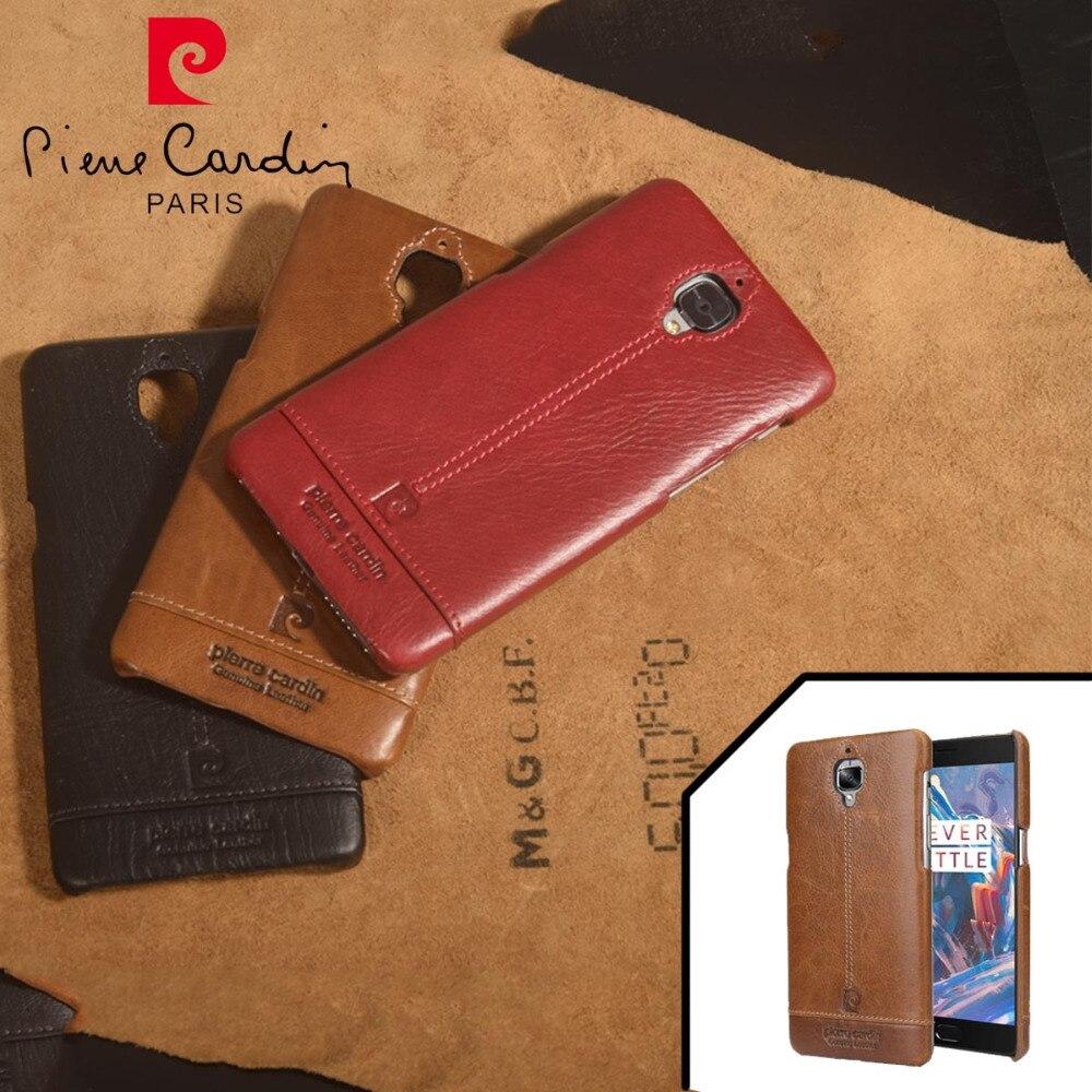 imágenes para Pierre Cardin Cuero Auténtico Lujo de Los Teléfonos Celulares Caso Para Uno Más 3 Caso Oneplus 3 T Caso de La Contraportada Del Envío gratis