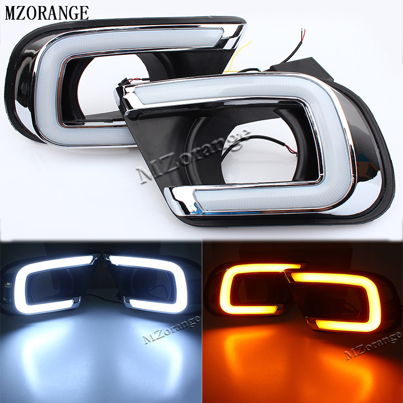 MZORANGE 1 Set 12V LED Car DRL Turn Signal style Relay Daytime Running Light with fog Lamp hole For Dodge Journey 2014 2015 2016