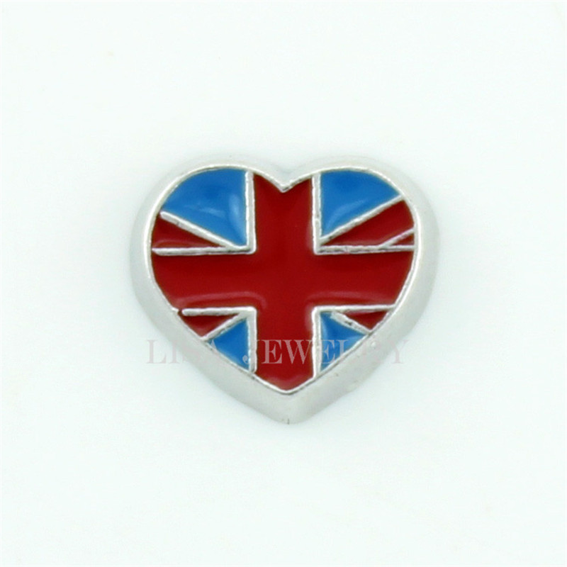 Fashion UK Flag Heart floating charms for Glass memory Lockets 10pcslot