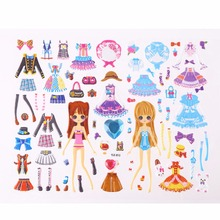 Cute DIY Children Stickers Lovely Girls 3D Bubble Stickers Kawaii Sticker Toys Dress up Girl Changing