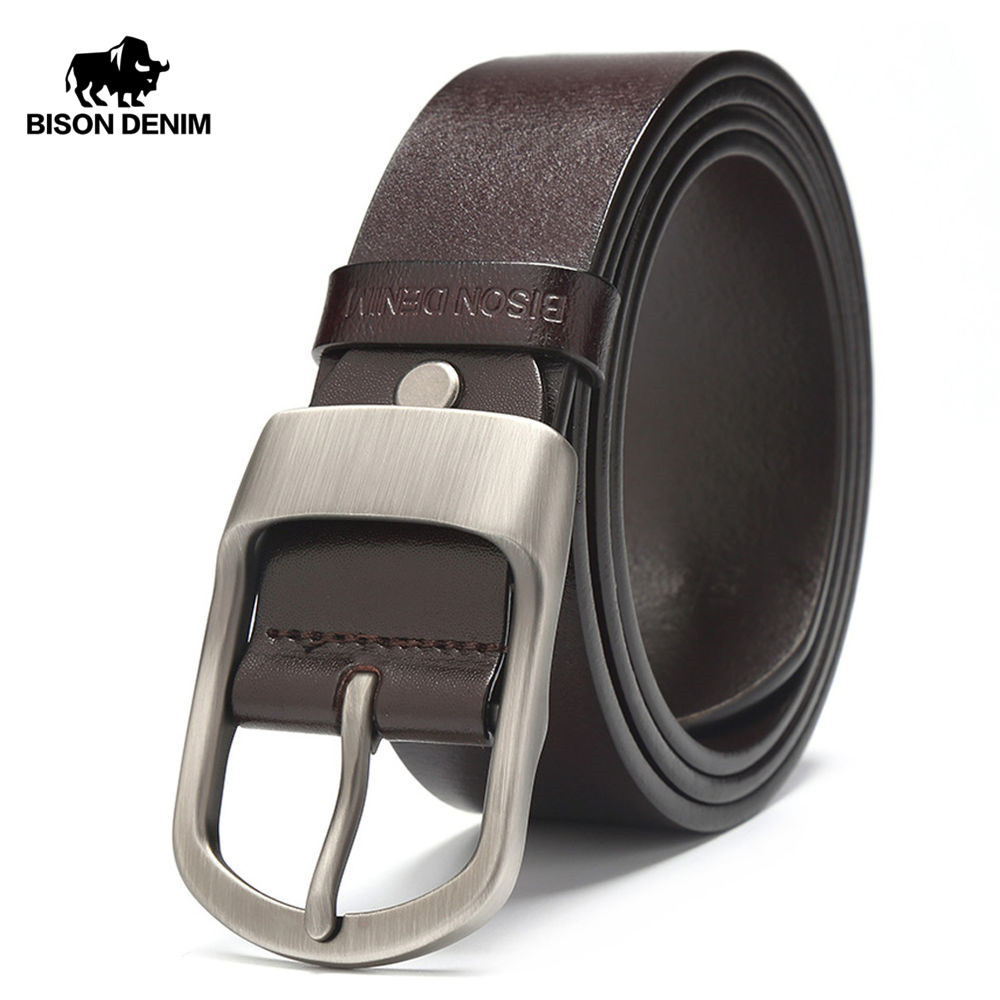 BISON DENIM Famous Men Belt Jeans Genuine Leather Pin Buckle Cowboy Belts For Male Vintage Brand Cowhide Belt Waistband N71228
