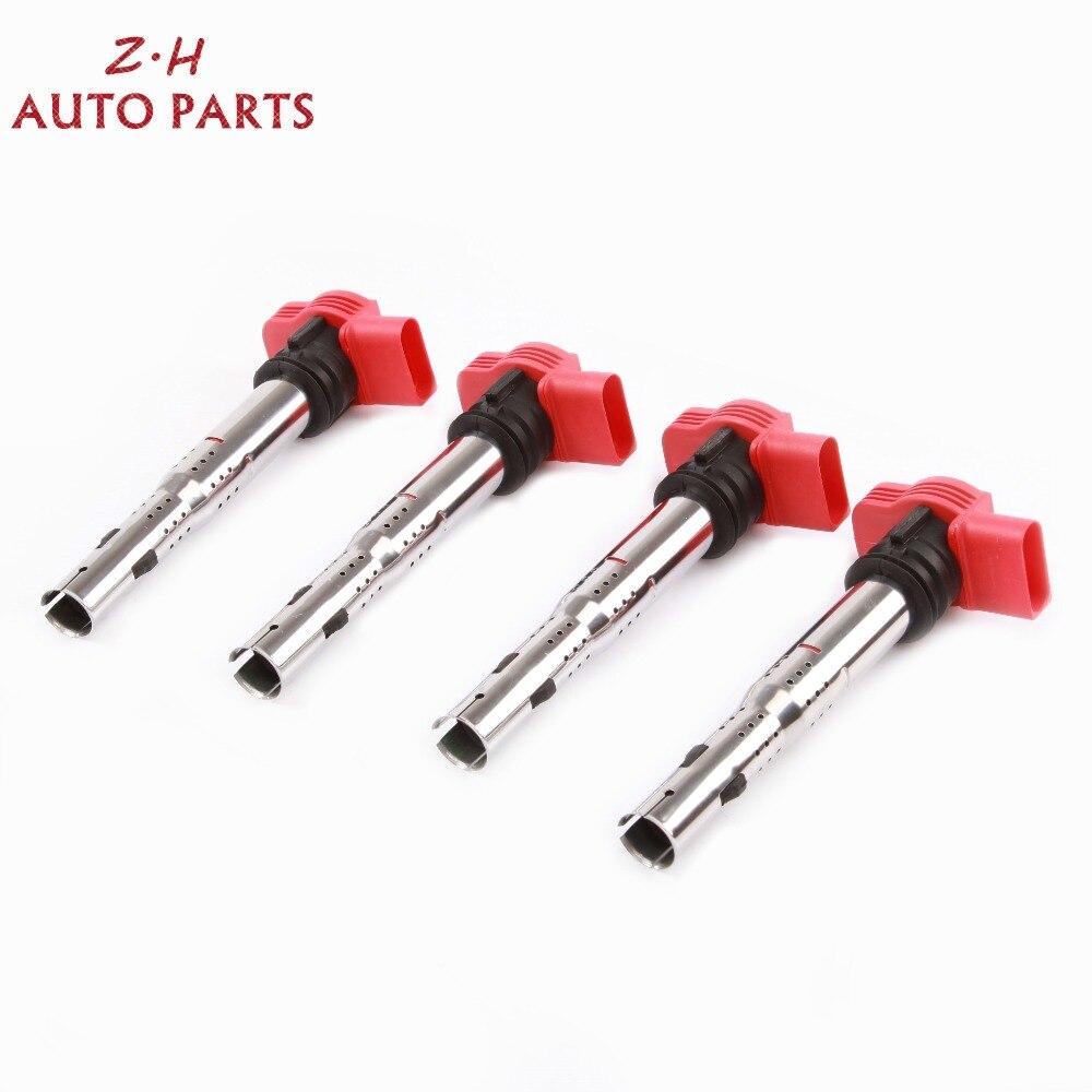 NEW 4Pcs Red Ignition Coil Pack 06E 905 115 F For Audi A4 A5 A6 Quattro Q5 Porsche Cayenne Volkswagen Touareg 3.0 3.2 V6 UF-529 oil pan for a4 a5 a6 06e 103 604 k 06e103604k
