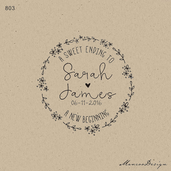 A Sweet Ending To New Beginning Branch Custom Wedding Rubber Stamp Name Date Personalized Favor