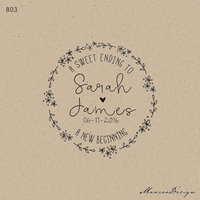 A Sweet Ending To A New Beginning Branch Custom Wedding Rubber Stamp Name Date Personalized Wedding
