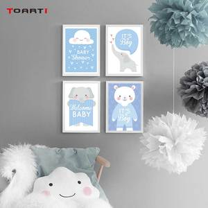 Image 1 - Cartoon Animals Elephant Prints Posters Baby Funny Quotes Canvas Painting On The Wall Kids Nursery Bedroom Art Picture Home Deco