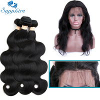 Sapphire Peruvian Hair Body Wave 3 Bundles With 360 Lace Frontal Closure Remy Human Hair With
