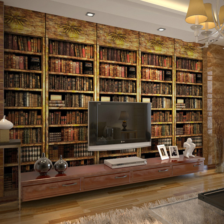 free shipping 3d bookcase bookshelf wallpaper retro nostalgia coffee shop tv background wall wallpaper mural
