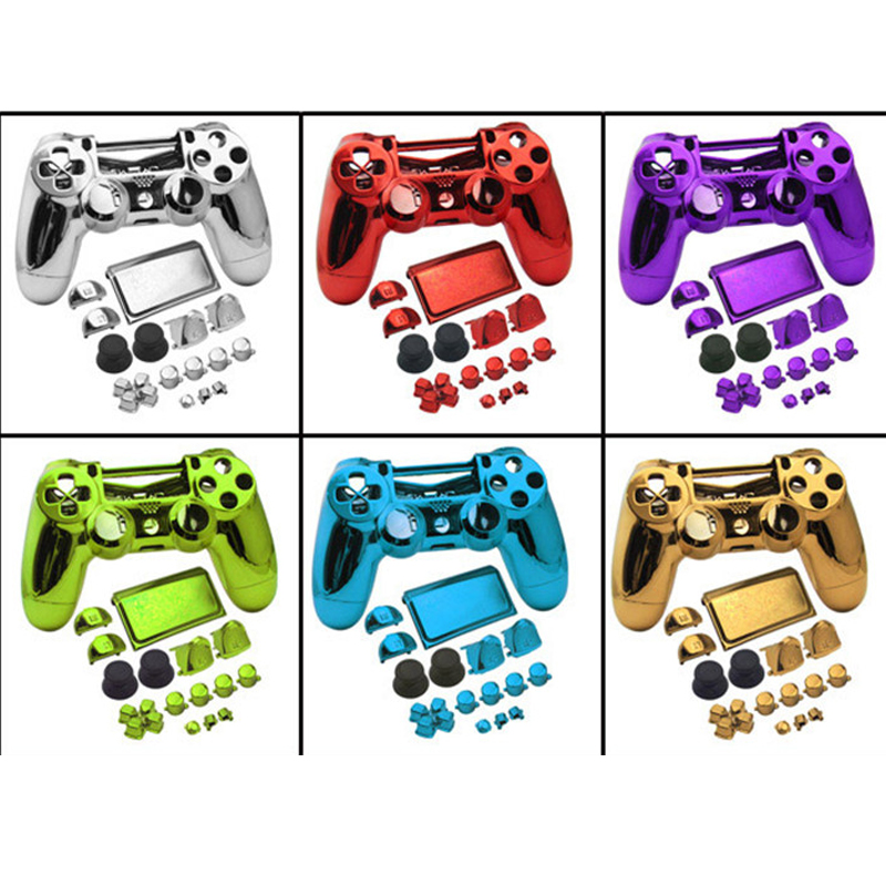 JDS040 JDM040 PS4 PRO 4 0 V2 Controller Chrome Plating Housing Shell Cover Case Button Mod Kit Replacement For Playstation 4 Pro