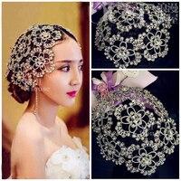 Vintage Silver Prom Pageant Round Crowns Rhinestone Flower Bridal Hair Jewelry Bridal Headpiece Tiara Wedding Hair