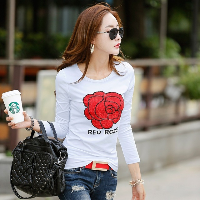 2016 New Female T-shirt Long Sleeve T Shirt Fashion Print  Rhinestone Cotton T-shirts For Women Poleras De Mujer  Winter Tops