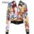 Xlent nuevo comic impresión de manga larga con cremallera chaqueta de las mujeres Americanas Europeas otoño mujer Moda casual abrigo G1026H07