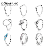 DORAPANG 925 Sterling Silver Heart Of Winter Ring Clear CZ Fairytale Tiara Patterns Of Frost Moonlight