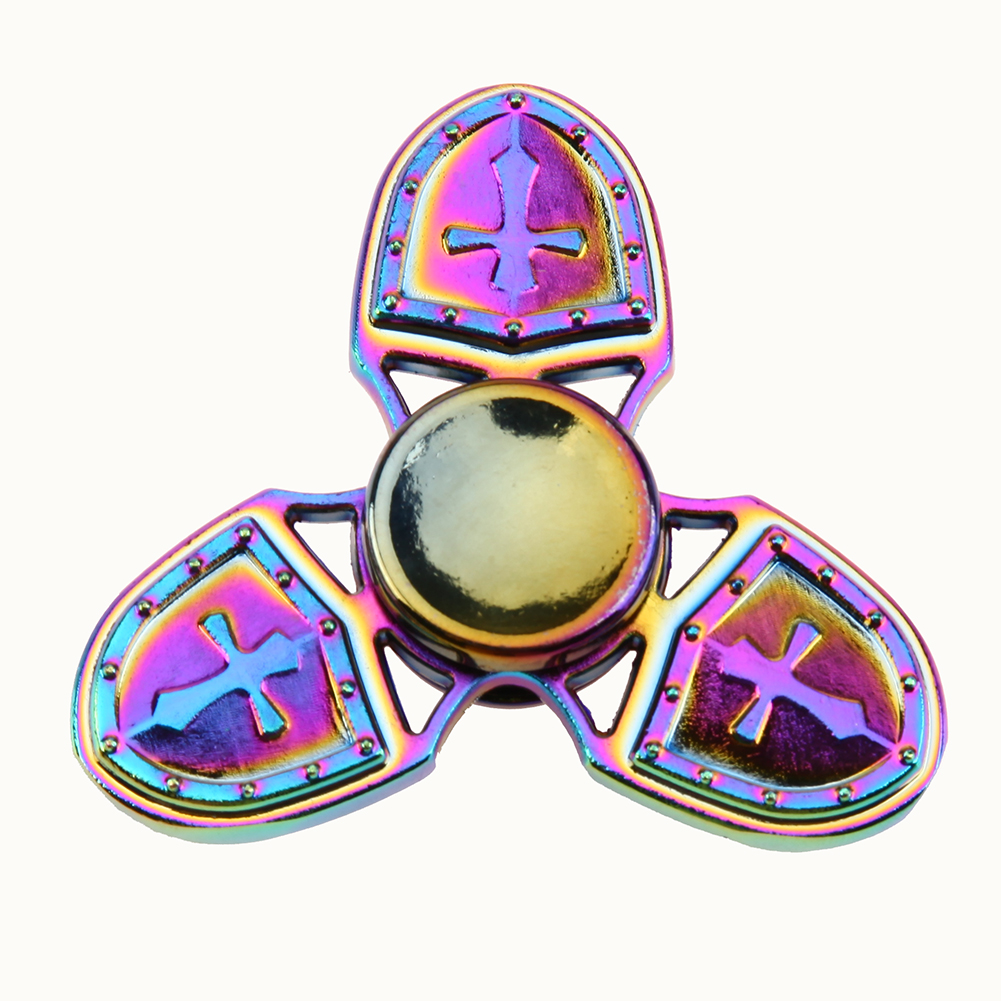 Rainbow Fidget Spinner Metal Tri Spinner EDC Hand Finger Spinner for Autism and ADHD Relief Stress
