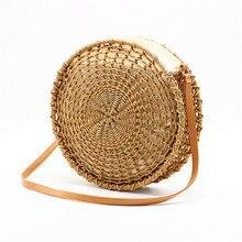 Okrągła ażurowa torebka ze słomy ręcznie pleciona torba crossbody na ramię