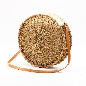 Image 1 - Sac de paille rond ajouré pour dames, sacoche tissée à la main, sacoche à bandoulière