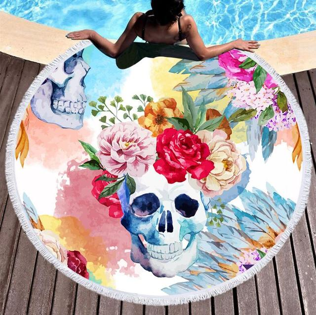 FLORAL SKULL ROUND BEACH TOWEL (3 VARIAN)