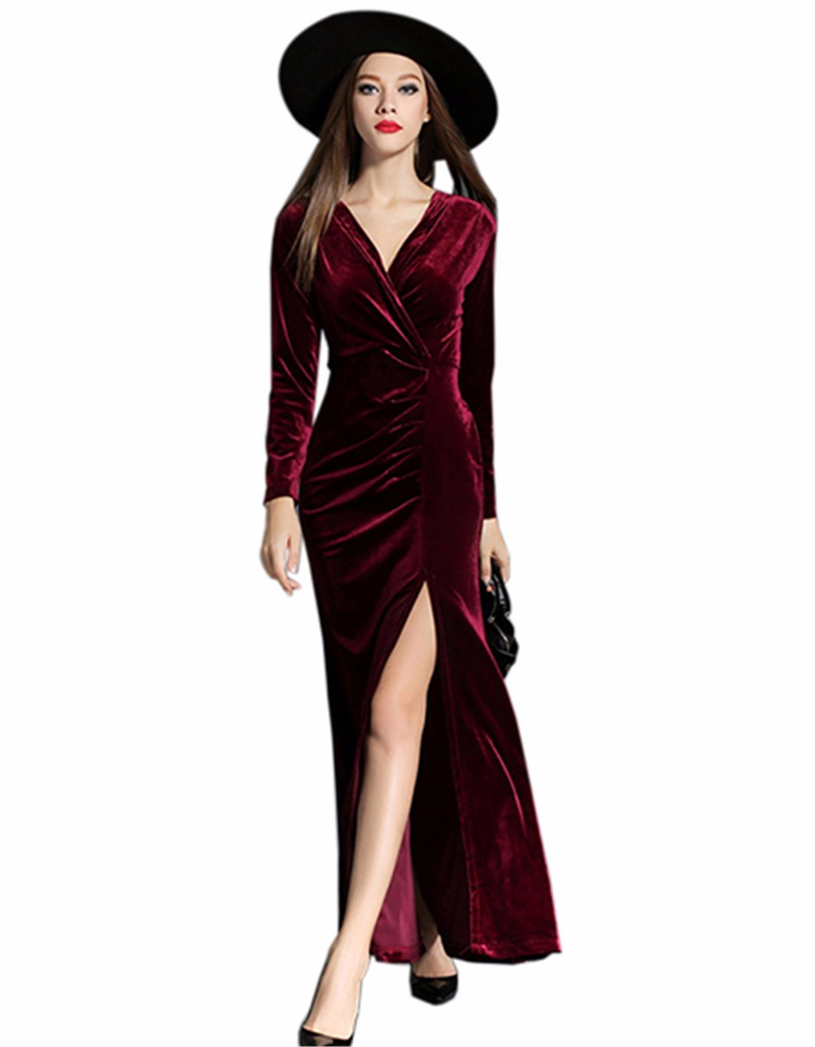 17 Autumn Winter Evening Party Dresses Red Velvet Dress Women Sexy High Split Long Maxi Dresses Christmas Runway Vestido Longo 2