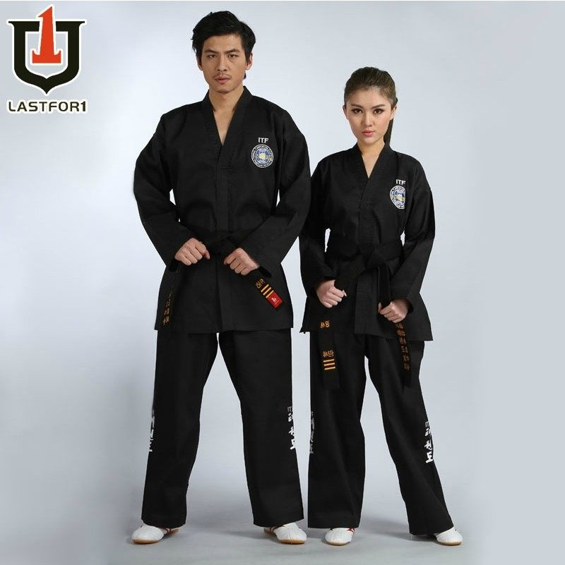 Free shipping Black full embroidery itf tae kwon do beautiful clothes itf taekwondo uniform itf full embroidery taekwondo clothing standard plain 1 3 dan assistant instructor doboks 4 6 dan instructor uniforms wholesale