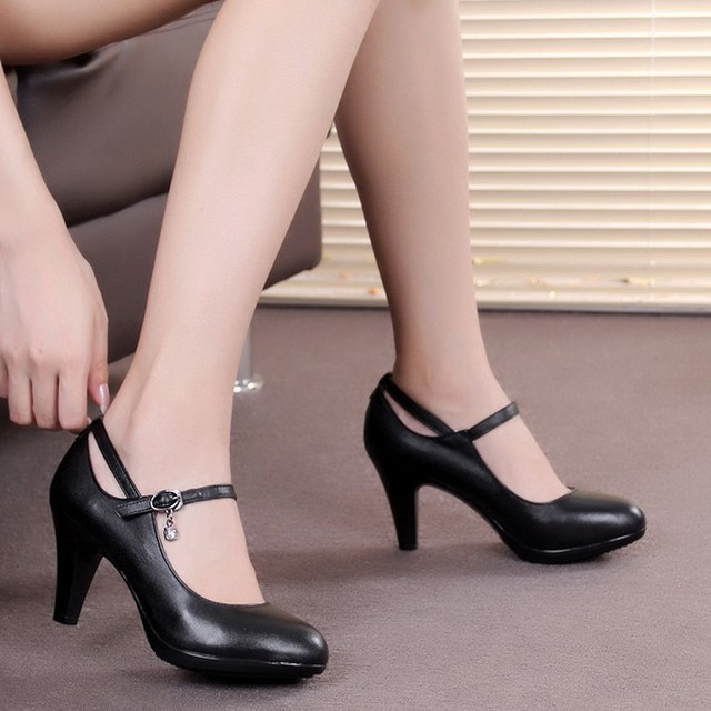 Crystal women genuine leather pumps high heels work shoes for ...