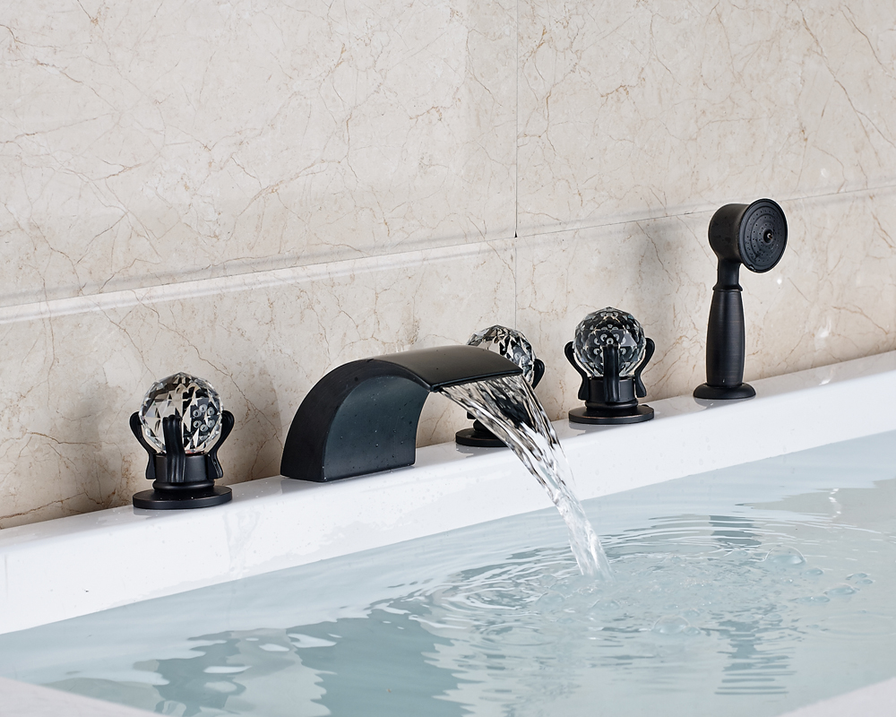 Oil Rubbed Brozne Finished Widespread 5pcs Waterfall Spout Bathtub Faucet With Brass Hand Shower
