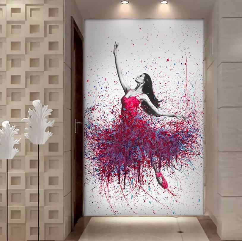 Hd Printed 1 Piece Elegant Dancing Ballerina Oil Painting Abstract Ballet Girl Wall Painting Multi Choices Large Canvas