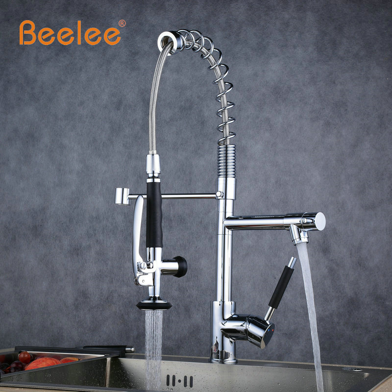 Beelee Spring Style Kitchen Faucet Brushed Nickel Faucet 360 Degree Rotating Kitchen Tap Brass Single Lever Deck Mounted Taps kemaidi fashion deluxe kitchen faucet mixer tap deck mounted kitchen faucet nickel brushed brass material kitchen taps