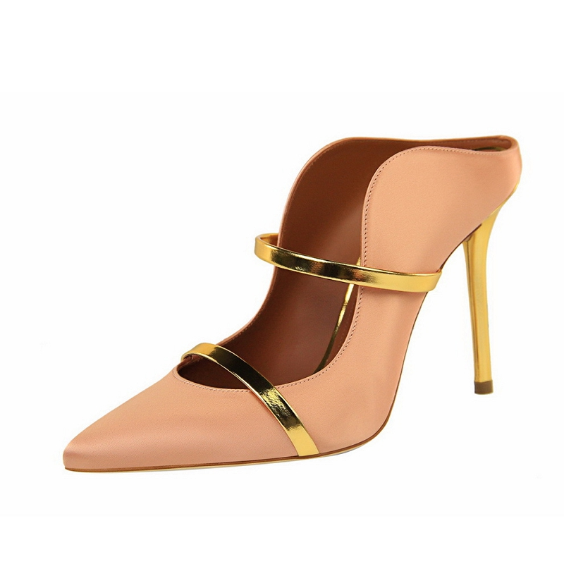 Summer Shoes Woman Pumps Thin Heels Wedding sapato feminino Women Shoes Gold Silver Stiletto Slip on Fashion Pointed Toe Sandals