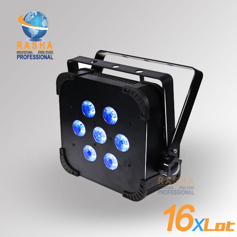 16X LOT Rasha Hot Sale 7pcs*15W 5IN1 RGBAW Built in Wireless LED Flat Par Can,ADJ LED Par Light,Stage Light With DMX512 110-240V 8x lot hot rasha quad 7 10w rgba rgbw 4in1 dmx512 led flat par light non wireless led par can for stage dj club party