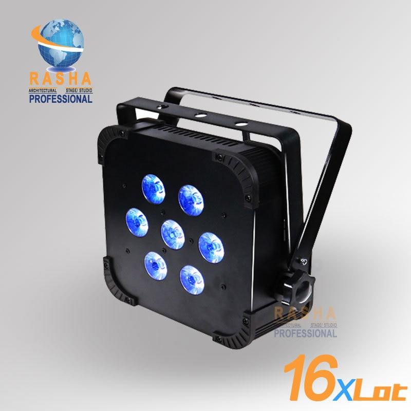16X LOT Rasha Hot Sale 7pcs*15W 5IN1 RGBAW Built in Wireless LED Flat Par Can,ADJ LED Par Light,Stage Light With DMX512 110-240V