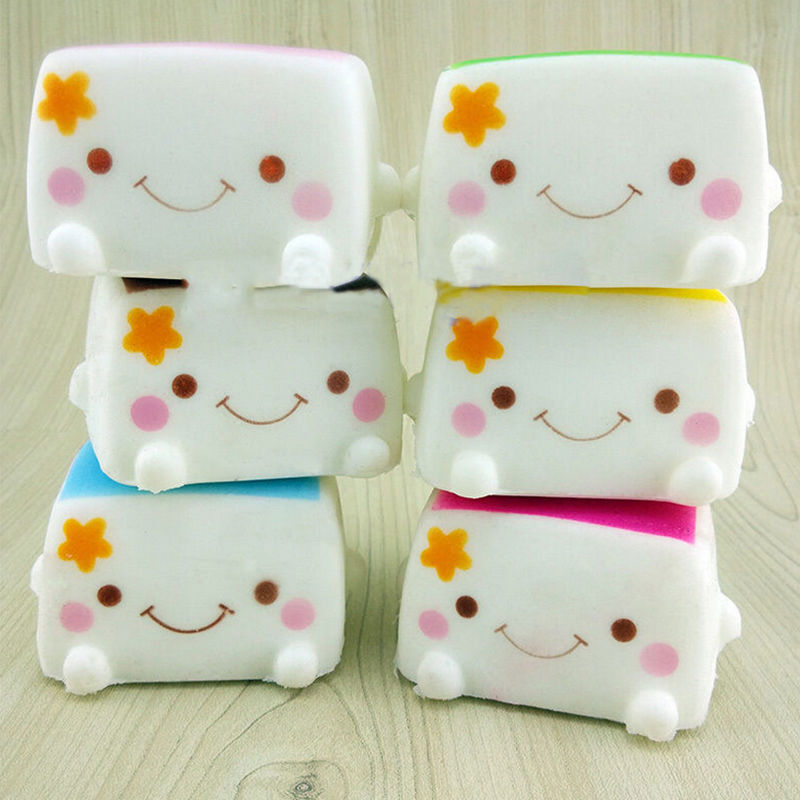 Colorful Kawaii Jumbo Toast Squishy Hand Pillow Bread Scent Toys Soft Chinese Tofu Adorable ...