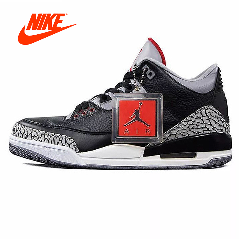 Original New Arrival Authentic Nike Air Jordan 3 Black Cement AJ3 Men 's Basketball Shoes Sneakers Sport Outdoor купить недорого в Москве