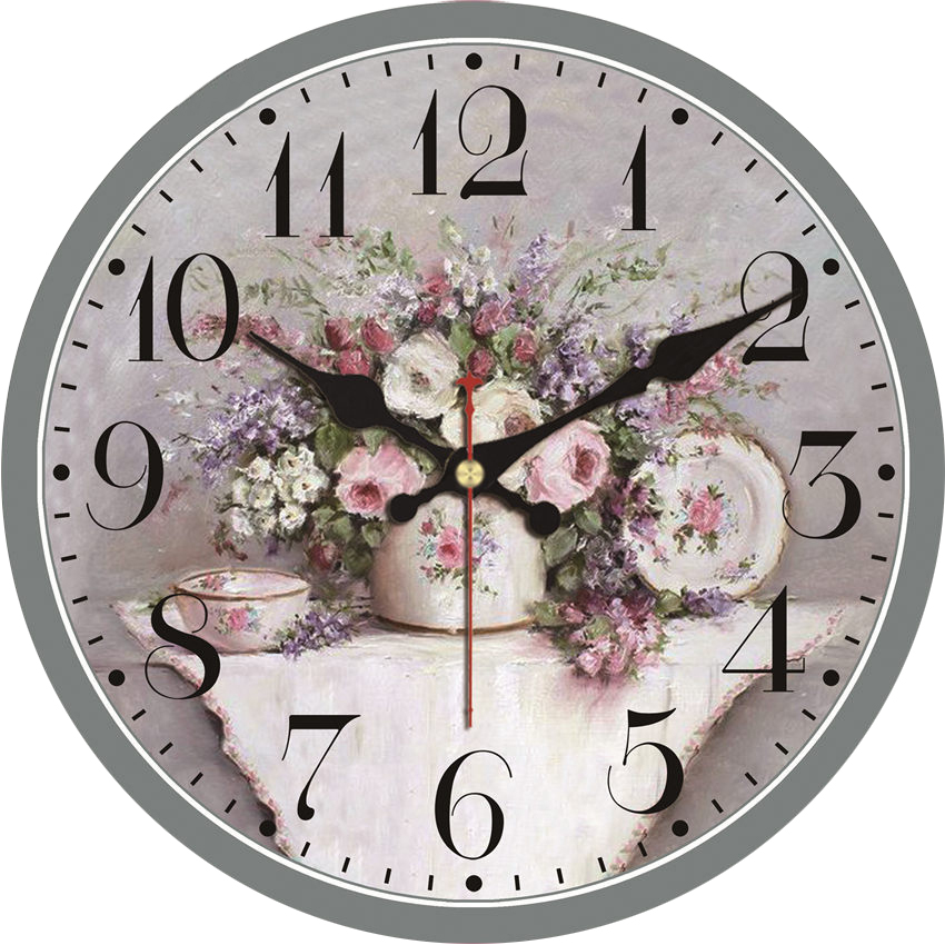 COUNTRY STYLE FLORAL WALL CLOCK  SHABBY CHIC KITCHEN LOUNGE PINK AND BLUE CLOCK Wall Clocks Home, Furniture & DIY