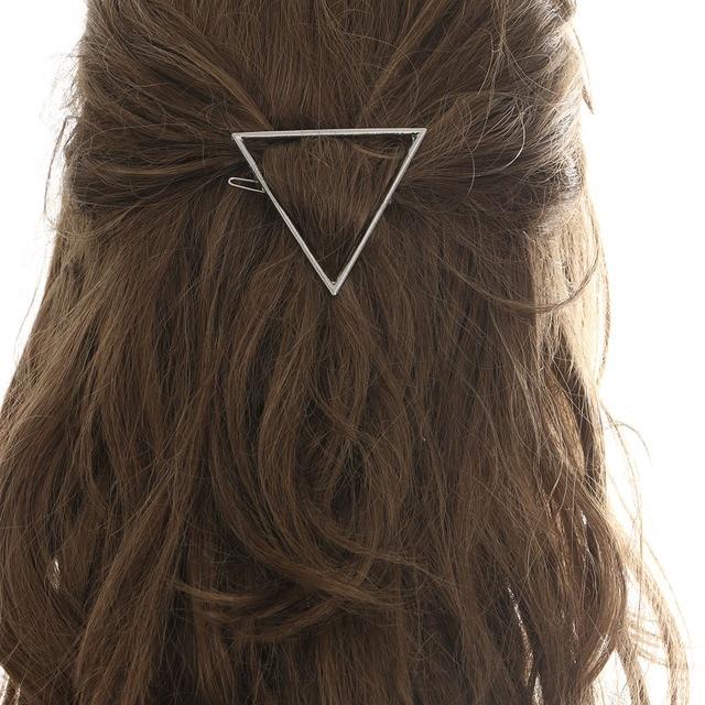 1 PC Lady Menina Das Mulheres de Prata de Ouro Do Punk Escavar Triângulo Lua Grampos Presilhas de Cabelo Clipe Hairpin Acessórios para o Cabelo Tom