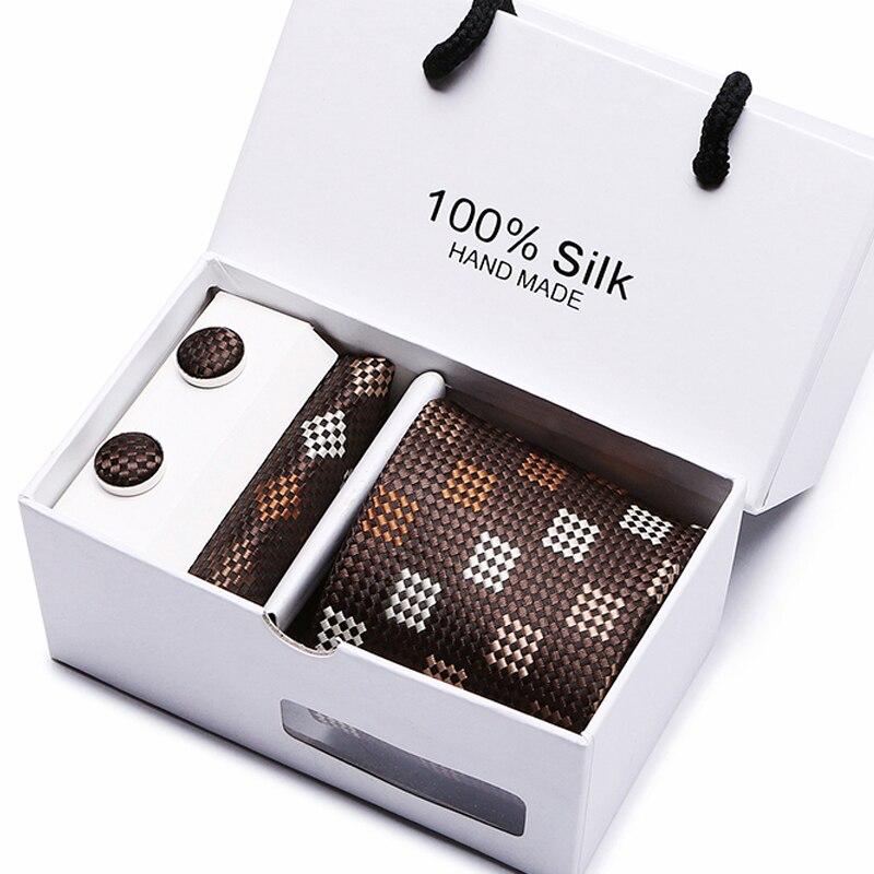 Fashion Men`s Tie 100% Brown plaid Novelty Silk Necktie Hanky Cufflink Set For Wedding Party Groom Business box gift.