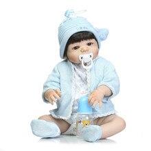 Новые 2017 Реалистичного Reborn Мальчик Ребенок 23 Дюймов Полный Силиконовые Винил новорожденный Куклы С голубой прекрасный одежда Для Нового Года или рождество