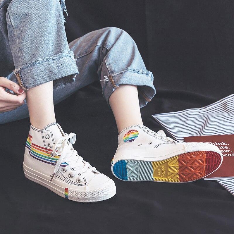 Mulheres Rainbow Shoes Alto Lacing Meninas Tênis Branco Colorido Verão 2019 Novos Alunos Lona Sapatos Casuais Zapatillas Mujer