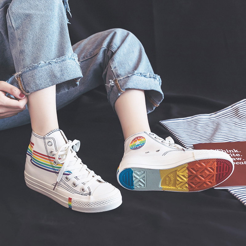 Women Rainbow Shoes High Up Lacing