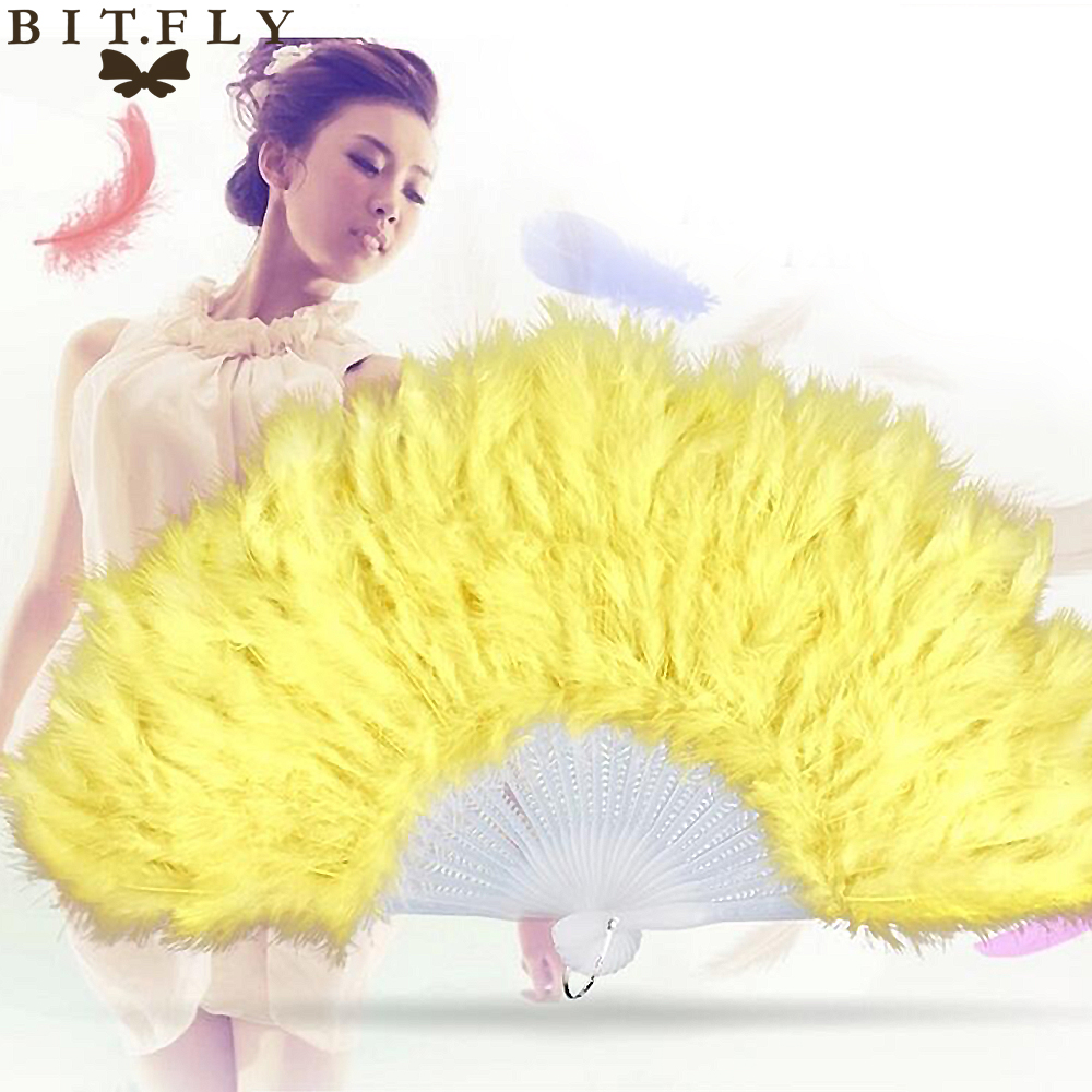 Showgirl Feather Fans burlesque Folding Dance Props Hand Fan For Women Halloween Wedding Party Supplies 14 Colors