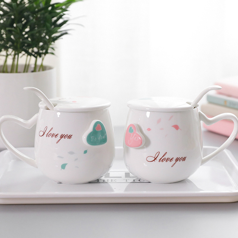 400ml*2 couple love ceramic mug with cover spoon milk breakfast cup a pair of packaging girlfriend gift Korean style