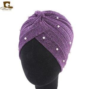 Image 4 - Тюрбан женский с оборками, Модный Блестящий головной убор с сеткой и золотыми бусинами, мусульманский головной убор, аксессуары для волос