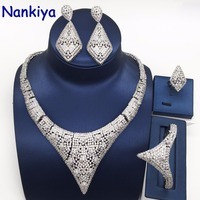 Nankiya Newest Elegent Necklace 4pcs Wedding Set Hyperbole Design Nigerian Dress Accessories Jewelry Set Dubai Girls Party NC778