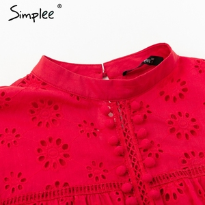 Image 5 - Simplee Elegant tank top women blouse Cotton embroidery red shirts feminina sexy top Stand neck tassel pompon ladies tops female