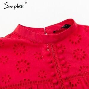 Image 5 - Simplee אלגנטי טנק למעלה נשים חולצה כותנה רקמה אדום חולצות feminina סקסי למעלה Stand צוואר ציצית פונפון גבירותיי חולצות נקבה
