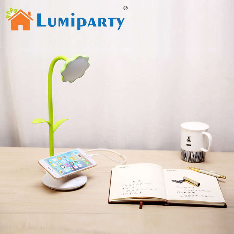 LumiParty Sunflower Desk Lamp Flexible Gooseneck LED Table Lamp with Phone Stand Holder Touch Sensitive Rechargeable