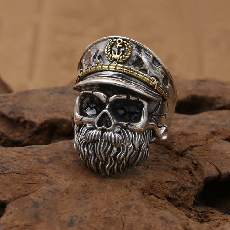 Solid Silver 925 Gothic Skull Captain Rings For Men 100% Real 925 Sterling Silver Chunky Rings Cool Punk Style Mens Jewelry Gift solid silver 925 vajra pendant charms for necklace men real 925 sterling silver jewelry gothic punk style thai silver bijoux men