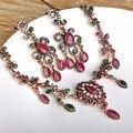 Турецкая Цветочный Ожерелье Серьги Устанавливает Красный Подвески Цепи Акрилового Камня Choker Винтаж Женщин Свадебные Африканские Бусы Комплект Ювелирных Изделий